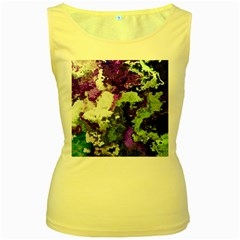 Background Abstract With Green And Purple Hues Women s Yellow Tank Top