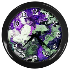 Background Abstract With Green And Purple Hues Wall Clocks (Black)