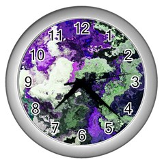 Background Abstract With Green And Purple Hues Wall Clocks (Silver)