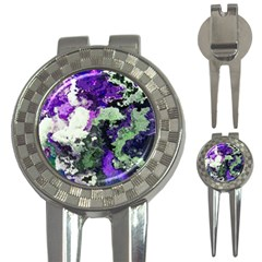 Background Abstract With Green And Purple Hues 3-in-1 Golf Divots