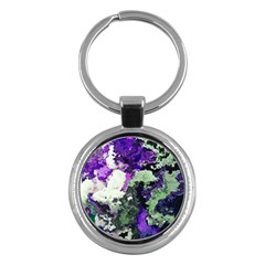Background Abstract With Green And Purple Hues Key Chains (Round)