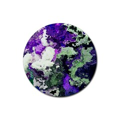 Background Abstract With Green And Purple Hues Rubber Coaster (Round)