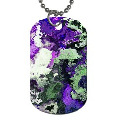 Background Abstract With Green And Purple Hues Dog Tag (two Sides)