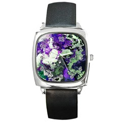 Background Abstract With Green And Purple Hues Square Metal Watch