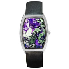Background Abstract With Green And Purple Hues Barrel Style Metal Watch
