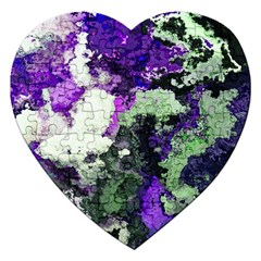 Background Abstract With Green And Purple Hues Jigsaw Puzzle (Heart)