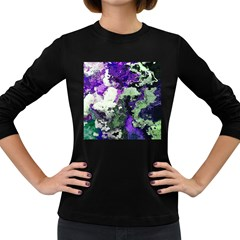 Background Abstract With Green And Purple Hues Women s Long Sleeve Dark T-Shirts