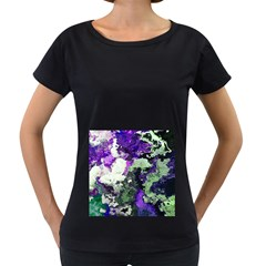 Background Abstract With Green And Purple Hues Women s Loose-Fit T-Shirt (Black)