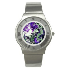 Background Abstract With Green And Purple Hues Stainless Steel Watch