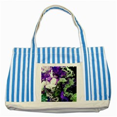 Background Abstract With Green And Purple Hues Striped Blue Tote Bag