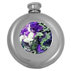 Background Abstract With Green And Purple Hues Round Hip Flask (5 oz)