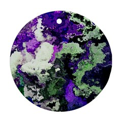 Background Abstract With Green And Purple Hues Round Ornament (two Sides)