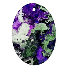 Background Abstract With Green And Purple Hues Oval Ornament (Two Sides)
