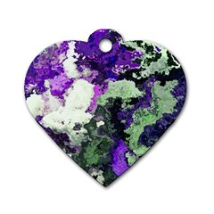 Background Abstract With Green And Purple Hues Dog Tag Heart (One Side)