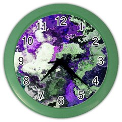 Background Abstract With Green And Purple Hues Color Wall Clocks
