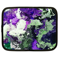 Background Abstract With Green And Purple Hues Netbook Case (xxl)