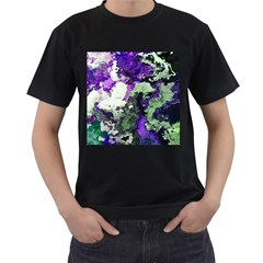 Background Abstract With Green And Purple Hues Men s T-Shirt (Black)