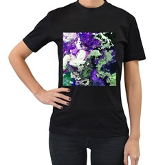Background Abstract With Green And Purple Hues Women s T-Shirt (Black)