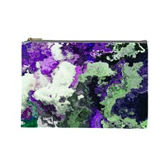 Background Abstract With Green And Purple Hues Cosmetic Bag (Large)