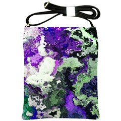 Background Abstract With Green And Purple Hues Shoulder Sling Bags