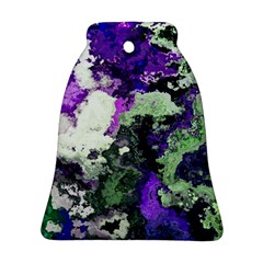 Background Abstract With Green And Purple Hues Bell Ornament (two Sides)