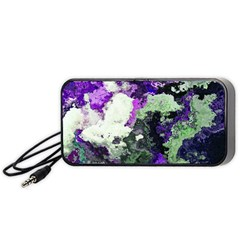 Background Abstract With Green And Purple Hues Portable Speaker (black)