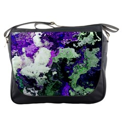 Background Abstract With Green And Purple Hues Messenger Bags