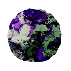 Background Abstract With Green And Purple Hues Standard 15  Premium Round Cushions