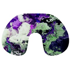 Background Abstract With Green And Purple Hues Travel Neck Pillows