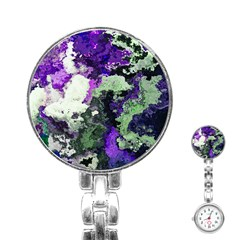 Background Abstract With Green And Purple Hues Stainless Steel Nurses Watch