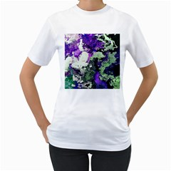 Background Abstract With Green And Purple Hues Women s T Shirt (white)