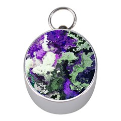Background Abstract With Green And Purple Hues Mini Silver Compasses