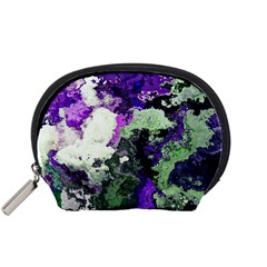 Background Abstract With Green And Purple Hues Accessory Pouches (Small)