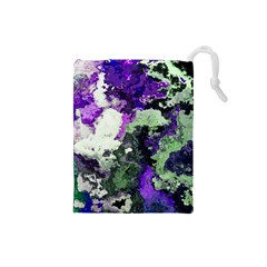 Background Abstract With Green And Purple Hues Drawstring Pouches (Small)