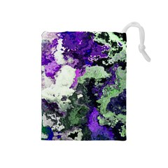 Background Abstract With Green And Purple Hues Drawstring Pouches (medium)