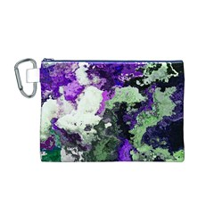 Background Abstract With Green And Purple Hues Canvas Cosmetic Bag (m)