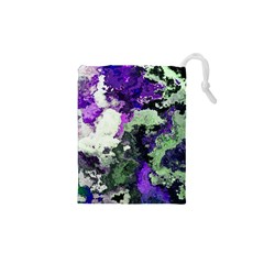 Background Abstract With Green And Purple Hues Drawstring Pouches (xs)