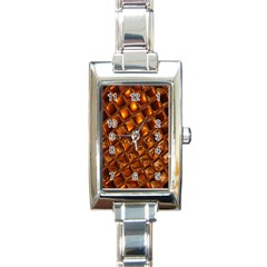 Caramel Honeycomb An Abstract Image Rectangle Italian Charm Watch