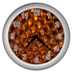 Caramel Honeycomb An Abstract Image Wall Clocks (Silver)