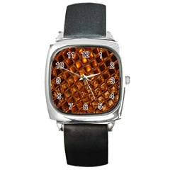 Caramel Honeycomb An Abstract Image Square Metal Watch