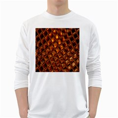 Caramel Honeycomb An Abstract Image White Long Sleeve T-Shirts