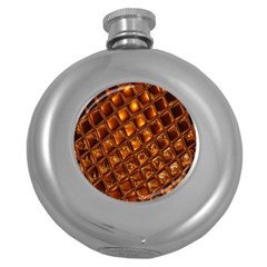 Caramel Honeycomb An Abstract Image Round Hip Flask (5 oz)