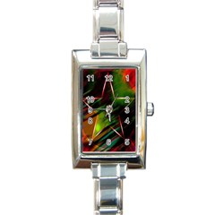 Colorful Background Star Rectangle Italian Charm Watch