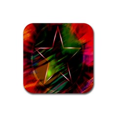 Colorful Background Star Rubber Coaster (Square)