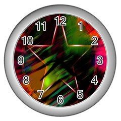 Colorful Background Star Wall Clocks (silver)
