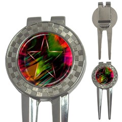 Colorful Background Star 3-in-1 Golf Divots
