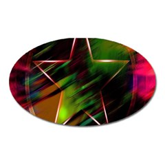 Colorful Background Star Oval Magnet