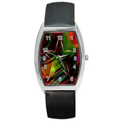 Colorful Background Star Barrel Style Metal Watch