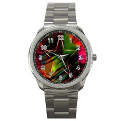 Colorful Background Star Sport Metal Watch