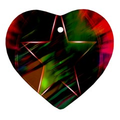 Colorful Background Star Heart Ornament (Two Sides)